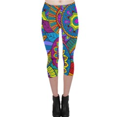 Pop Art Paisley Flowers Ornaments Multicolored Capri Leggings