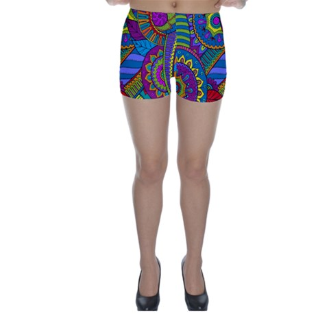 Pop Art Paisley Flowers Ornaments Multicolored Skinny Shorts