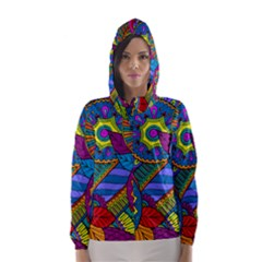 Pop Art Paisley Flowers Ornaments Multicolored Hooded Wind Breaker (Women)