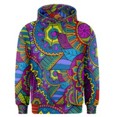 Pop Art Paisley Flowers Ornaments Multicolored Men s Pullover Hoodie
