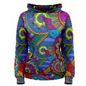 Pop Art Paisley Flowers Ornaments Multicolored Women s Pullover Hoodie View1