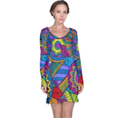 Pop Art Paisley Flowers Ornaments Multicolored Long Sleeve Nightdress
