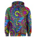 Pop Art Paisley Flowers Ornaments Multicolored Men s Zipper Hoodie View1