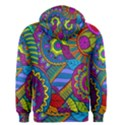 Pop Art Paisley Flowers Ornaments Multicolored Men s Zipper Hoodie View2