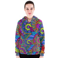 Pop Art Paisley Flowers Ornaments Multicolored Women s Zipper Hoodie