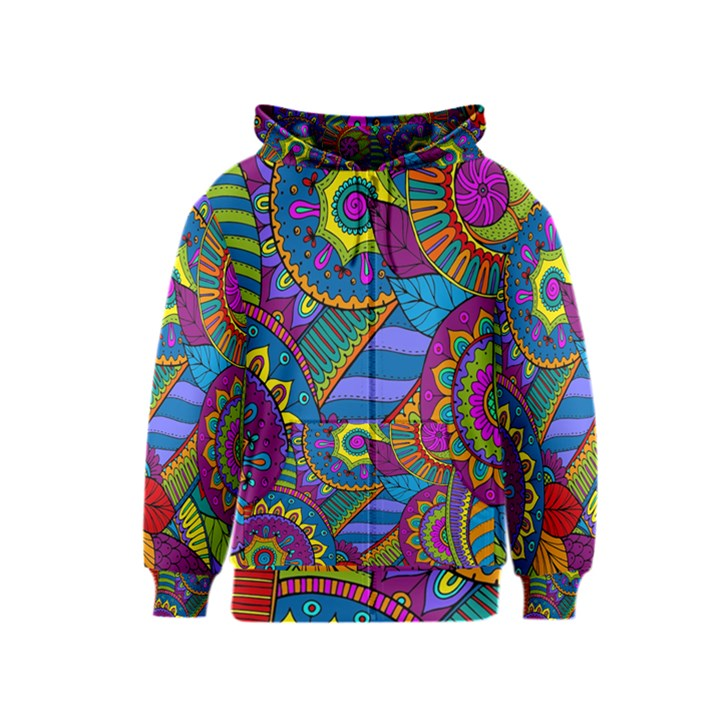 Pop Art Paisley Flowers Ornaments Multicolored Kids  Zipper Hoodie