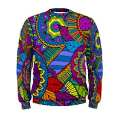 Pop Art Paisley Flowers Ornaments Multicolored Men s Sweatshirt