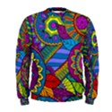 Pop Art Paisley Flowers Ornaments Multicolored Men s Sweatshirt View1
