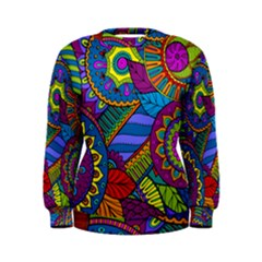 Pop Art Paisley Flowers Ornaments Multicolored Women s Sweatshirt