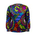 Pop Art Paisley Flowers Ornaments Multicolored Women s Sweatshirt View1