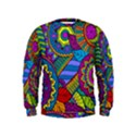 Pop Art Paisley Flowers Ornaments Multicolored Kids  Sweatshirt View1