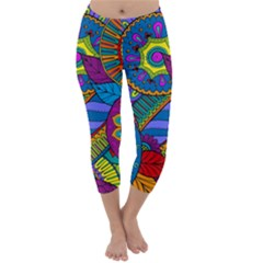 Pop Art Paisley Flowers Ornaments Multicolored Capri Winter Leggings