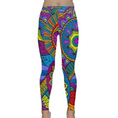 Pop Art Paisley Flowers Ornaments Multicolored Yoga Leggings