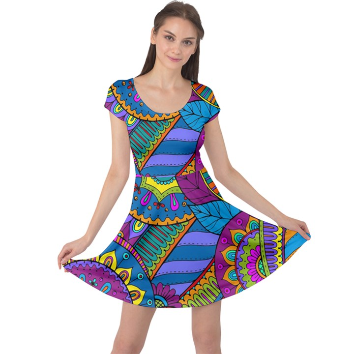 Pop Art Paisley Flowers Ornaments Multicolored Cap Sleeve Dresses