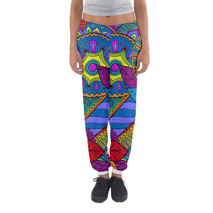Pop Art Paisley Flowers Ornaments Multicolored Women s Jogger Sweatpants