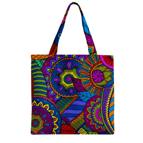 Pop Art Paisley Flowers Ornaments Multicolored Zipper Grocery Tote Bag