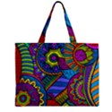 Pop Art Paisley Flowers Ornaments Multicolored Zipper Mini Tote Bag View1