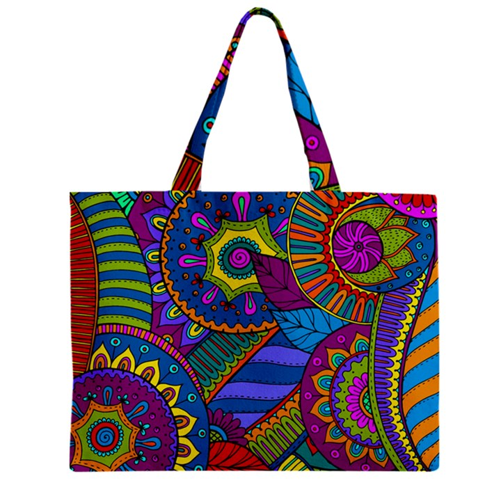 Pop Art Paisley Flowers Ornaments Multicolored Zipper Mini Tote Bag