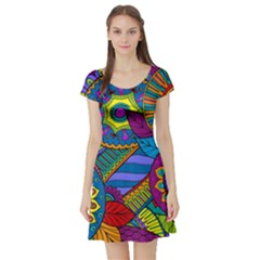 Pop Art Paisley Flowers Ornaments Multicolored Short Sleeve Skater Dress