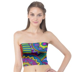 Pop Art Paisley Flowers Ornaments Multicolored Tube Top