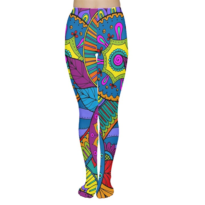 Pop Art Paisley Flowers Ornaments Multicolored Women s Tights