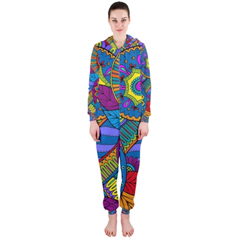 Pop Art Paisley Flowers Ornaments Multicolored Hooded Jumpsuit (Ladies)