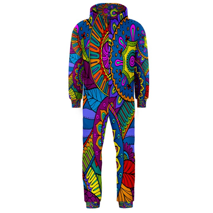 Pop Art Paisley Flowers Ornaments Multicolored Hooded Jumpsuit (Men)