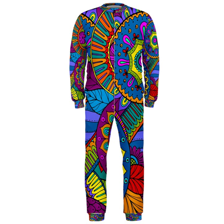 Pop Art Paisley Flowers Ornaments Multicolored OnePiece Jumpsuit (Men)