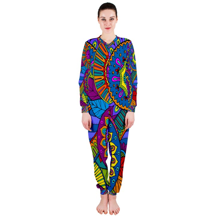 Pop Art Paisley Flowers Ornaments Multicolored OnePiece Jumpsuit (Ladies)