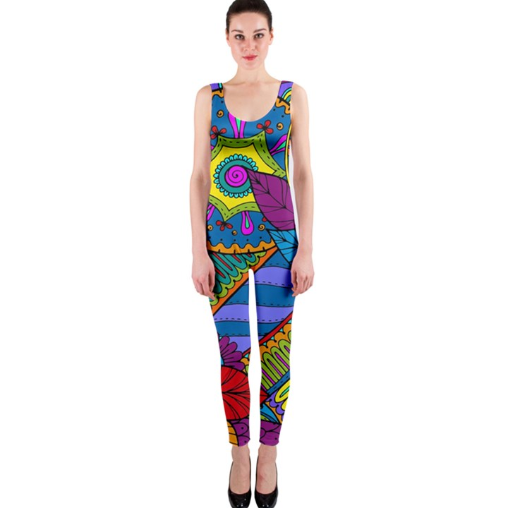 Pop Art Paisley Flowers Ornaments Multicolored OnePiece Catsuit