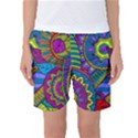 Pop Art Paisley Flowers Ornaments Multicolored Women s Basketball Shorts View1