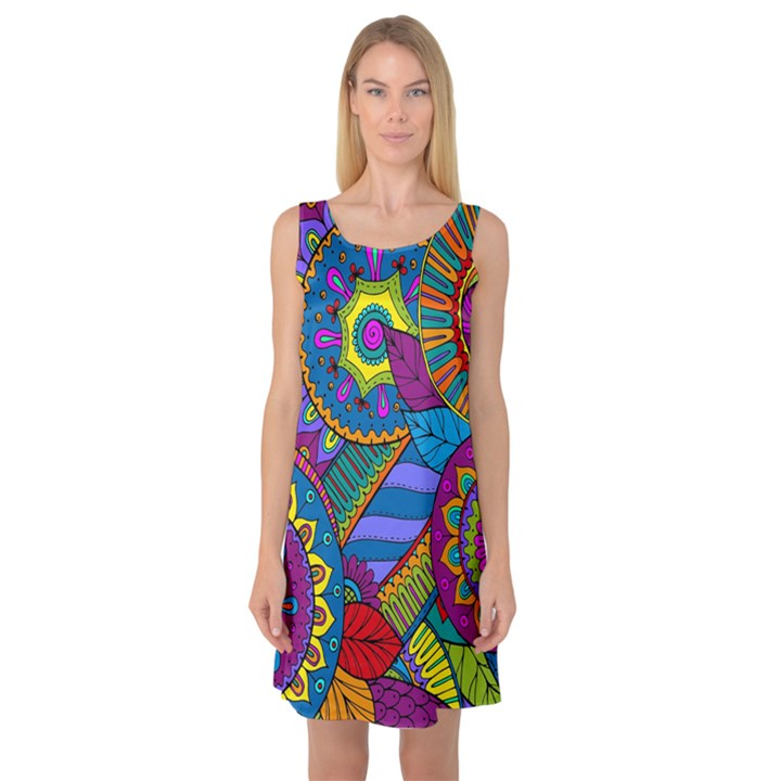 Pop Art Paisley Flowers Ornaments Multicolored Sleeveless Satin Nightdress