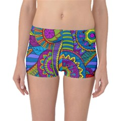Pop Art Paisley Flowers Ornaments Multicolored Boyleg Bikini Bottoms