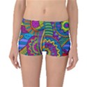 Pop Art Paisley Flowers Ornaments Multicolored Boyleg Bikini Bottoms View1