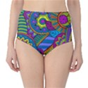 Pop Art Paisley Flowers Ornaments Multicolored High-Waist Bikini Bottoms View1