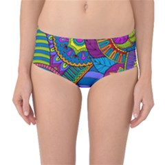 Pop Art Paisley Flowers Ornaments Multicolored Mid-Waist Bikini Bottoms