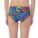 Pop Art Paisley Flowers Ornaments Multicolored Mid-Waist Bikini Bottoms View2