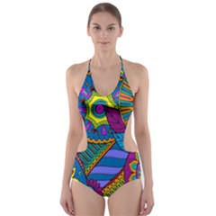 Pop Art Paisley Flowers Ornaments Multicolored Cut-Out One Piece Swimsuit