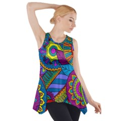 Pop Art Paisley Flowers Ornaments Multicolored Side Drop Tank Tunic