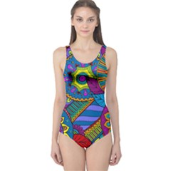 Pop Art Paisley Flowers Ornaments Multicolored One Piece Swimsuit