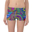 Pop Art Paisley Flowers Ornaments Multicolored Reversible Boyleg Bikini Bottoms View1