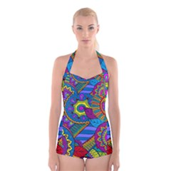 Pop Art Paisley Flowers Ornaments Multicolored Boyleg Halter Swimsuit