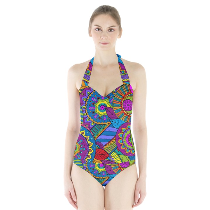 Pop Art Paisley Flowers Ornaments Multicolored Halter Swimsuit