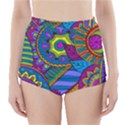 Pop Art Paisley Flowers Ornaments Multicolored High-Waisted Bikini Bottoms View1