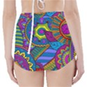 Pop Art Paisley Flowers Ornaments Multicolored High-Waisted Bikini Bottoms View2