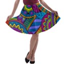 Pop Art Paisley Flowers Ornaments Multicolored A-line Skater Skirt View1