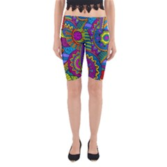 Pop Art Paisley Flowers Ornaments Multicolored Yoga Cropped Leggings