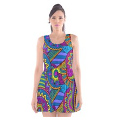 Pop Art Paisley Flowers Ornaments Multicolored Scoop Neck Skater Dress