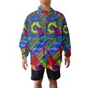 Pop Art Paisley Flowers Ornaments Multicolored Wind Breaker (Kids) View1