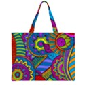 Pop Art Paisley Flowers Ornaments Multicolored Large Tote Bag View1